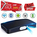 Mini Video Projector HD DLP Max200 Home Video Theater 3000 Lumens support 1080P Wireless WIFI Bluetooth Android System Game Office iPhone Multi-screen Sharing HDMI USB SD Card AV Black