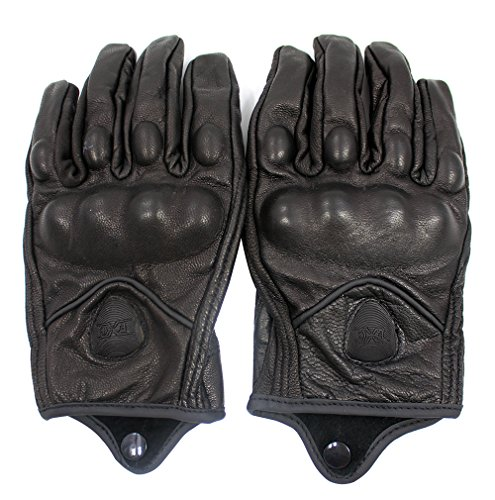 FXC Full Finger Motorcycle Leather Gloves Men's Premium Protective Motorbike Gloves (L, Solid) by FXC (Image #2)