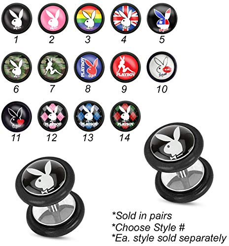 Forbidden Body Jewelry 16g Surgical Steel Playboy Logo Epoxy Inlay Cheater Plug Earrings (Style 1)