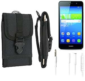 bolsa del cinturón / funda para Huawei Y6, negro + Auriculares | caja del teléfono cubierta protectora bolso - K-S-Trade (TM)