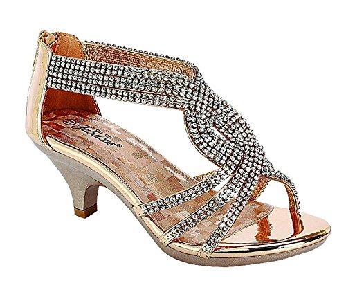 Angel-37K Little Girl Mid Heel Rhinestone Pretty Sandal Dress Shoes (11 M US Little Kid, Rose Gold)