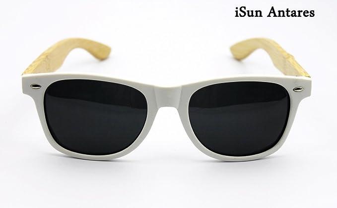 iSun Antares,Modelo Antares, cuerpo en color blanco, con patillas en madera de