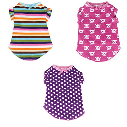 Small Dog Clothes Girl T-Shirt Pet Clothing Wear - Set of 3 (Clothes Dogs)
