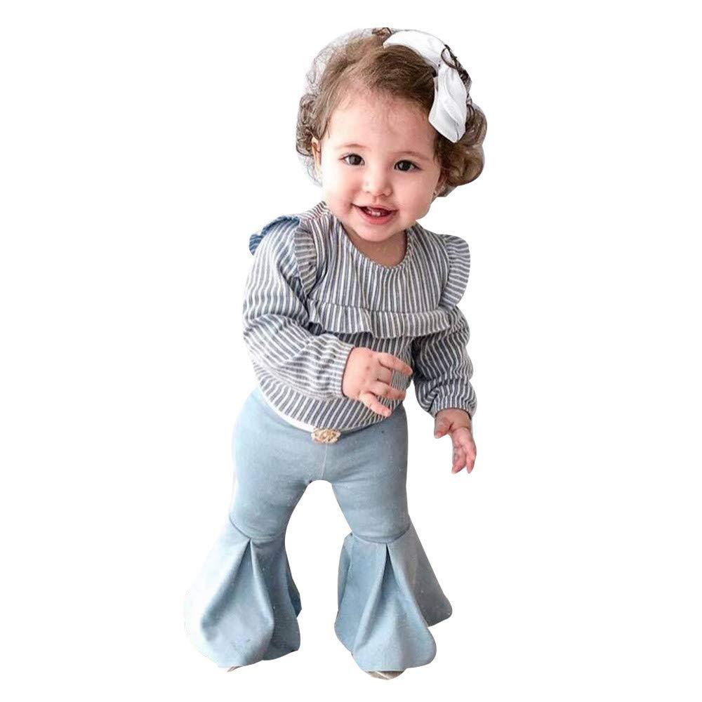 Vêtements Fille, Enfant en Bas âge Bébé Fille T-Shirts Rayés + Pantalons évasés 2PCS Vêtements Set Enfant en Bas âge Bébé Fille T-Shirts Rayés + Pantalons évasés 2PCS Vêtements Set