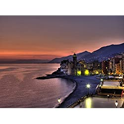 Coast Line With Santa Maria Assunta Basillica Looking West Towards Genova Camogli Italy Poster Print (32 x 24)