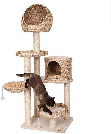 DJLOOKK Árbol rascador para Gatos Gato de ratán Marco de Escalada ...