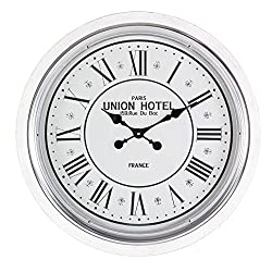 Deco 79 52144 Wood and Iron Wall Clock, 24, White/Gray/Black