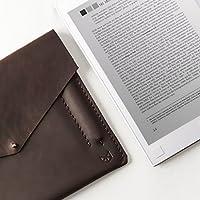Dark Brown Leather Remarkable Tablet Folio, Handstitched Case With Marker Holder, Paper Tablet Sleeve. Custom Monogrammed Gifts For Him.