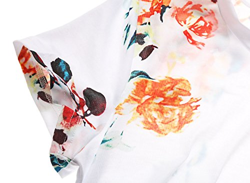 Dokotoo Womens Summer Sexy Fashion Floral Tops and Blouses for Juniors White Large by Dokotoo (Image #4)