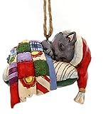 "Enesco Jim Shore Heartwood Creek Kitten on Pillow Stone Resin Hanging Ornament, 3.25"", Multicolor"