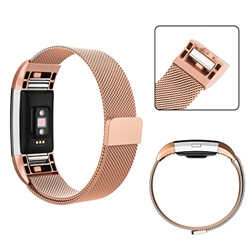 AK Fitbit Charge 2 Bands, Adjustable Milanese Stainless Steel Metal Band Strap with Magnetic Closure Clasp for Fit bit Charge 2 HR Fitness Tracker
