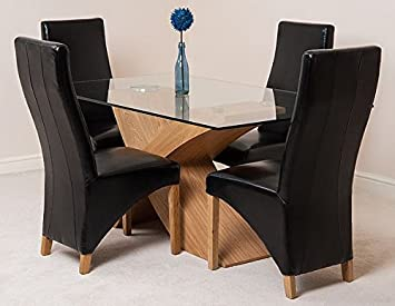 VALENCIA 160 DINING TABLE AND 4 BLACK LOLA LEATHER CHAIRS