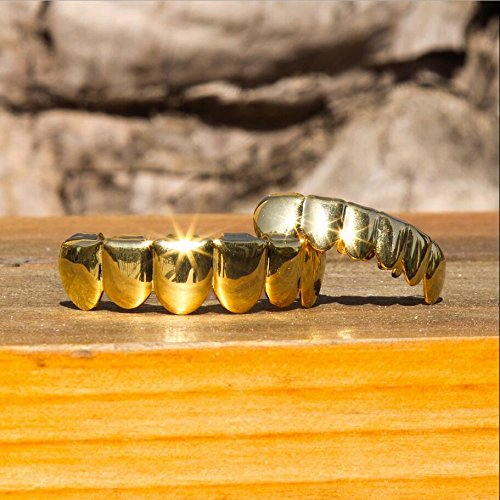 TSANLY Gold Grillz - New Custom Fit 24k Gold grillz Plated tooth grills fit mouth Caps Top & Bottom Grill Set Gift for kids …