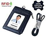 Genuine Leather Badge ID Holder, Macoku ID Badge Card Wallet 1 Side RFID Blocking Zipper Pocket, Holds Multiple Cards & Keys, Offices ID, School ID, Driver Licence Come with Genuine Leather Neck Strap