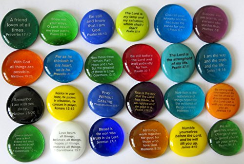 Scripture Glass Stones, 24 of Your Favorite Inspiring Bible Verses on Translucent and Opaque Rocks, by Lifeforce Glass, Set II.