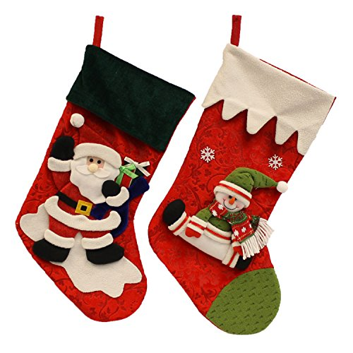 Christmas Holiday Festive Snowman & Santa Plush Decorative Stockings, Red, Black, White, Green, Multicolor, 2 Pack, Large, 17
