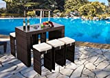 Do4U 7 Piece Outdoor Rattan Wicker Bar Pub Table & Chairs Patio Dining Set