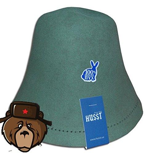RussianBear Dark Green Rabbit Fluff Hat for Sauna Banya Bath House Head Protection by Russian-Bear