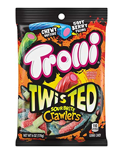 (Trolli Twisted Sour Brite Crawlers Gummy Worms, 6 Ounce Peg Bag (Pack of 8) Sour Gummy)