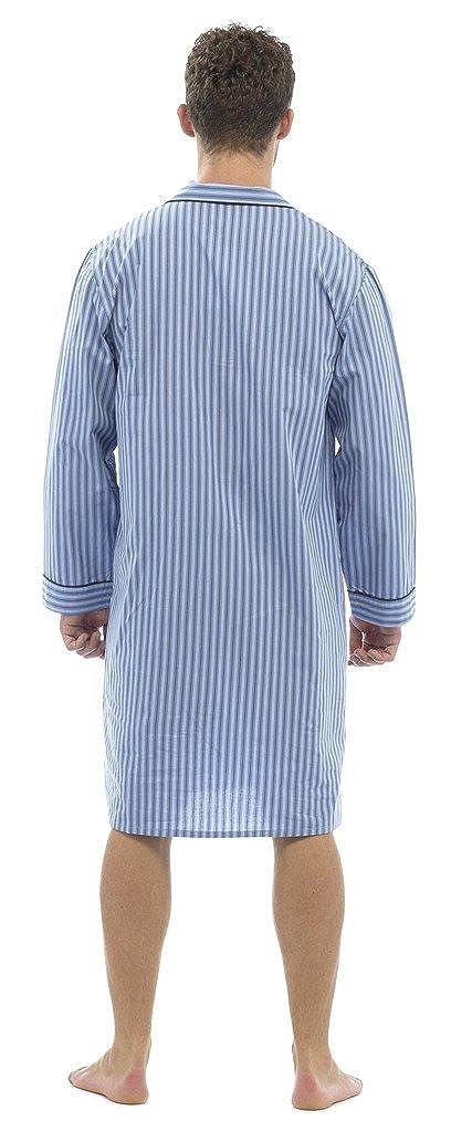 Walter Grange Mens 100/% Cotton Nightshirts Night Shirt Striped Blue Mid Light Buttoned Poplin
