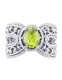 Simulated Peridot Oval Cocktail Design Ring .925 Sterling Silver Rhodium Finish