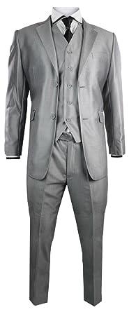 buy popular 14791 6aff2 Feinster Herren Anzug Glänzend Silver Leicht Grau 3 teilig hochwertige  Verarbeitung, Party Anzug Kurz Länge