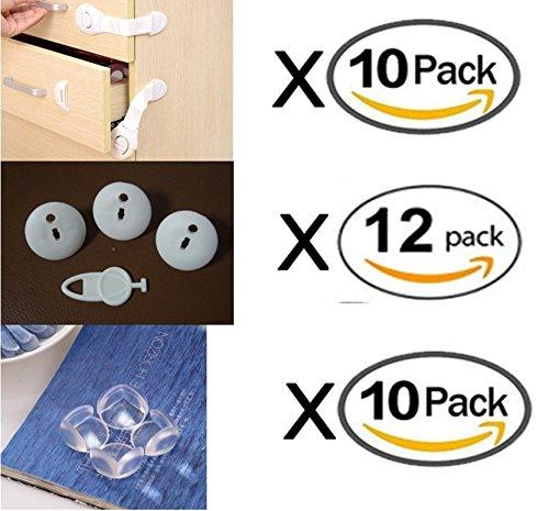 G-MOTIONS Kits de Sécurité des Enfants / Bébés 32 Pièces : 10 x Loquets bloque placard et 10 x Coin de Table Sécurité Bébés Enfants avec Adhésif 12 x Protection cache prise Electrique
