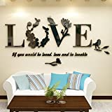 love decal - Geyou Fashion 3D Removable Leaf LOVE Wall Stickers Art Vinyl Decals Bedroom Decor (Black)