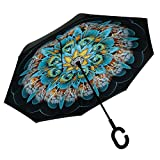 Spring fever Inverted Umbrella Double Layer Hands Free Windproof Travel Umbrella Peacock Flower