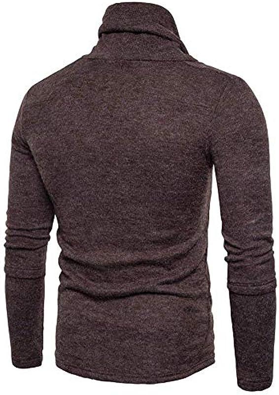 Męski szykowny sweter z zwijanym kołnierzem bluza kołnierz rolowany normalny lakier z długim rękawem modny sweter z dzianiny elegancki sweter z dzianiny: Odzież
