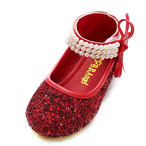 YING LAN Girl Round-Toe Sparkle Bowknot Ballet Ballerina Flat Princess Wedding Shoes Mary Janes Red