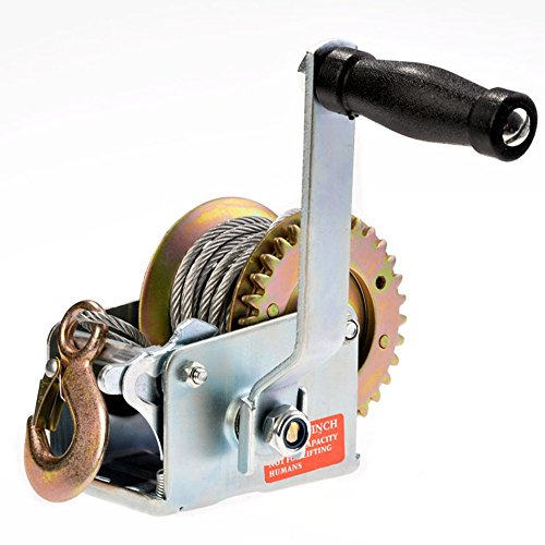 (600lbs Capacity Heavy Duty Hand Winch, Hand Crank Strap Gear Winch with 8m Steel Wire, Manual Operated Two-Way Ratchet ATV Boat Trailer Marine)