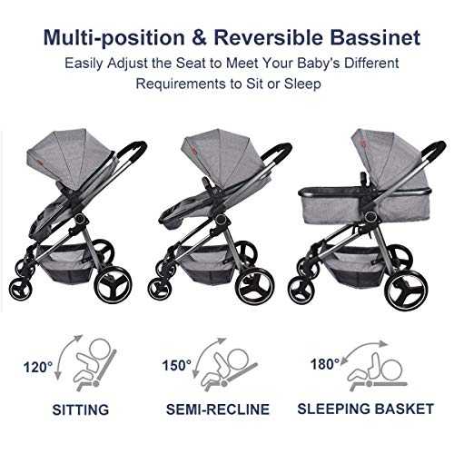 Cozylifeunion Baby Stroller, Convertible Bassinet Reclining Stroller, Foldable and Portable Pram Carriage Anti-Shock Pushchair with Aluminum Frame, 5-Point Harness and High Capacity Basket Gray
