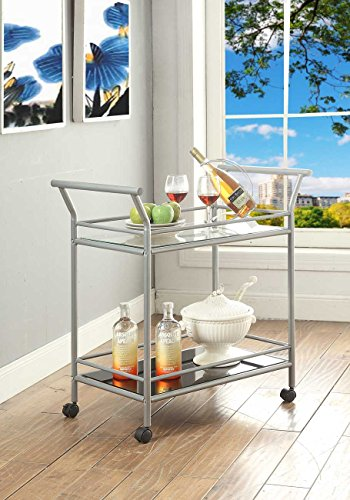 Silver Finish Metal Tempered Glass 2-tier Serving Wine Tea Dining Kitchen Cart