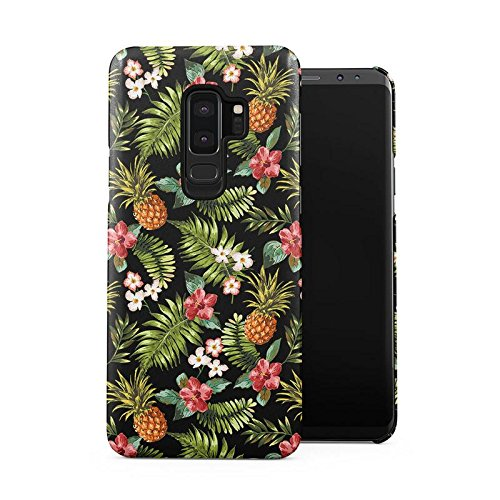Peak Large Flower Clip (Tropical Pineapple, Hibiscus Flowers & Tropical Jungle Pattern Plastic Phone Snap On Back Case Cover Shell for Samsung Galaxy S9 Plus)