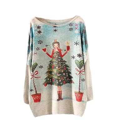 Bestow Árbol de Navidad Suelto Manga Larga Impresa suéter de Punto Abrigo para Mujer de Navidad