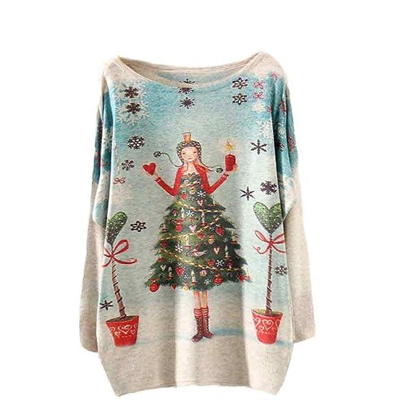 Bestow Árbol de Navidad Suelto Manga Larga Impresa suéter de Punto Abrigo para Mujer de Navidad Suéter Chaleco Sudadera Cazadora (BeigeA, Tamaño Libre): ...