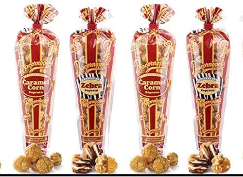 Popcornopolis Popcorn (2) CARAMEL CORN 10oz (2) ZEBRA POPCORN 11oz (4 pack)