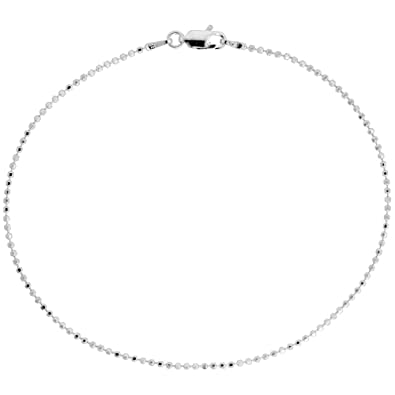 ball chain necklace. sterling silver faceted pallini bead ball chain necklace 1.5mm nickel free italy, 16 inch k