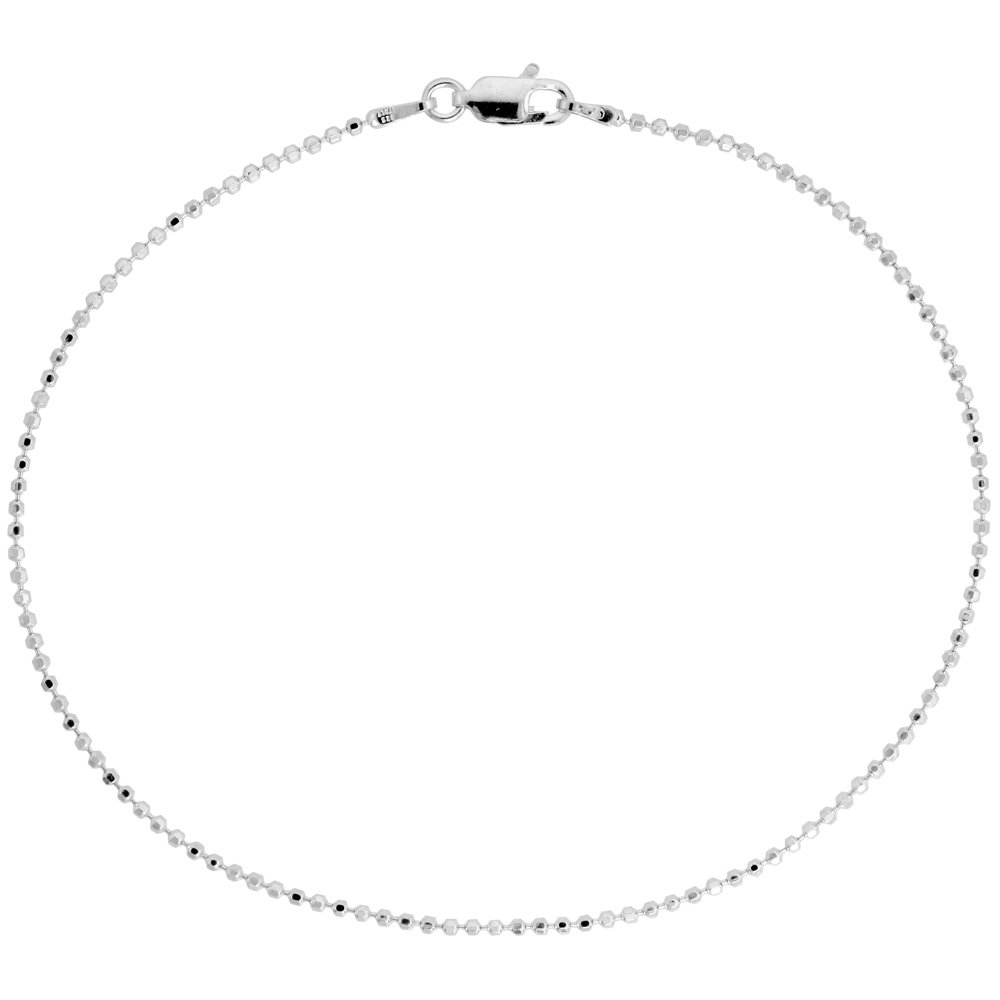 Sterling Silver Faceted Pallini Bead Ball Chain Necklace 1.5mm Nickel Free Italy, 20 inch