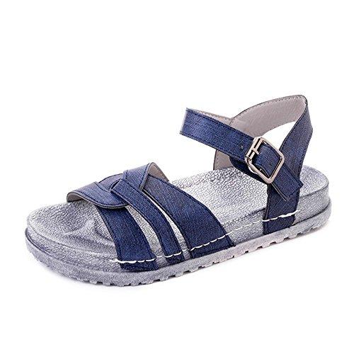 Sandalias planas Muffins femenino estudiantes inferior grueso zapatos cómodos Blue