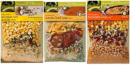 Basil Soup Mix (Frontier Soups Homemade in Minutes 3 Flavor Variety Bundle: (1) Tomato Basil, (1) Enchilada and (1) Red Pepper Corn Chowder, 4-5.75 Oz Each (3 Bags Total))