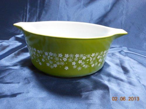 Pyrex Spring Blossom / Crazy Daisy Green Cinderella Casserole Baking Dish Bowl (2.5 quarts)