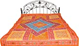 Orange Bedspread from Kutch with Embroidered Mirrors and Patchwork - Pure Cotton
