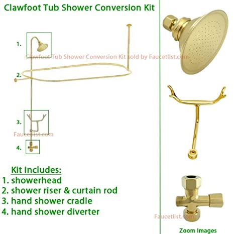 Polished Brass Clawfoot Tub Shower Conversion Kit With Enclosure