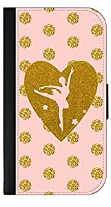 Pink Ballerina Dancer-Gold Glitter PRINT Polka Dots- Wallet Case for the APPLE IPHONE 5c ONLY!!!-NOT COMPATIBLE WITH THE IPHONE 5, 5s!!!-PU Leather and Suede Wallet Iphone Case with Flip Cover that Closes with a Magnetic Clasp and 3 Inner Pockets for Storage