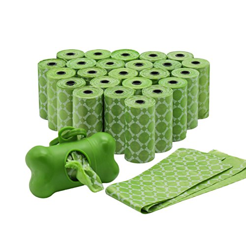 Durable Poop Bags with Dispenser for Leash, Lavender-scented, Best Pets Dog Waste Bag Holder Refill for Doggie Waist/Poo/Boo, Green, Not Biodegradable