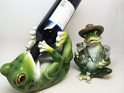 KITCHEN GREEN FROG PICNIC TOAD WINE BOTTLE HOLDER & SALT PEPPER SHAKERS HOLDER ()