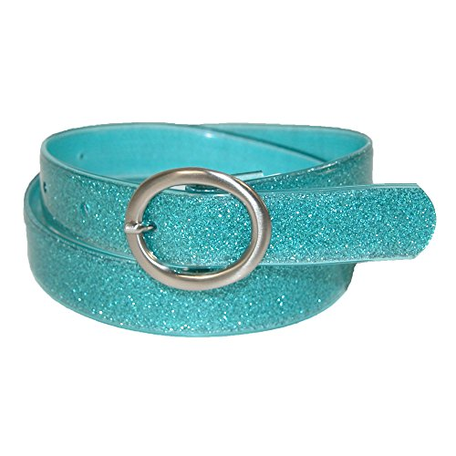 Landes Girls' Center Bar Buckle Glitter Belt, 7/8, Turquoise