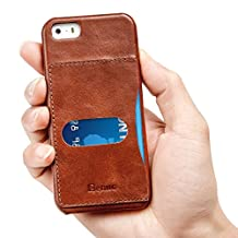iPhone SE Case, Benuo [Vintage Series] [1 Card Slot] iPhone 5S Genuine Leather Case, Premium Corrected Grain Leather Back Cover [Slim Fit] for Apple iPhone SE 5S 5 (Retro Brown)
